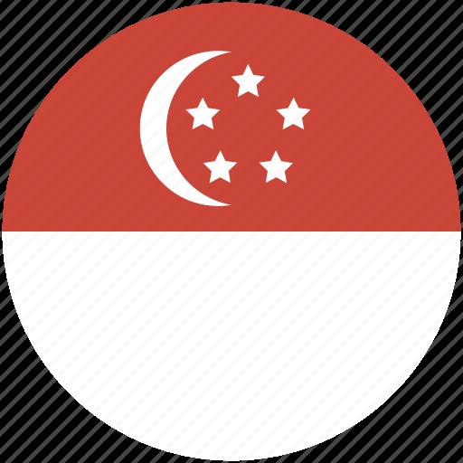 circle, flag, singapore icon