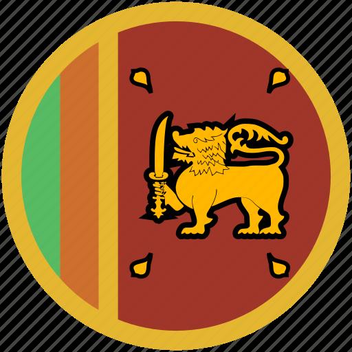 circle, flag, srilanka icon