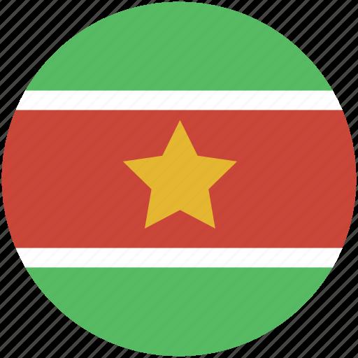 circle, flag, suriname icon