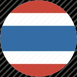 circle, flag, thailand icon