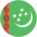 circle, flag, turkmenistan icon