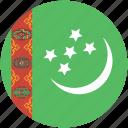 circle, flag, turkmenistan