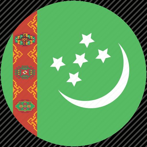 circle, flag, turkmenistan icon