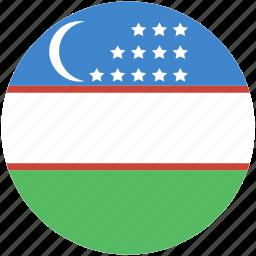 circle, flag, uzbekistan icon