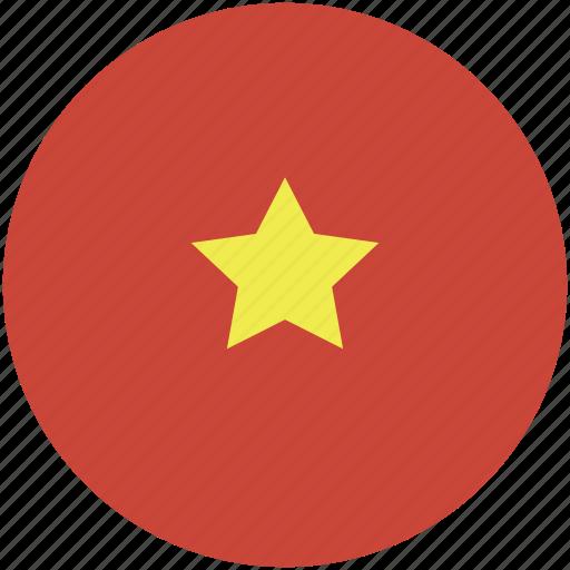 circle, flag, vietnam icon