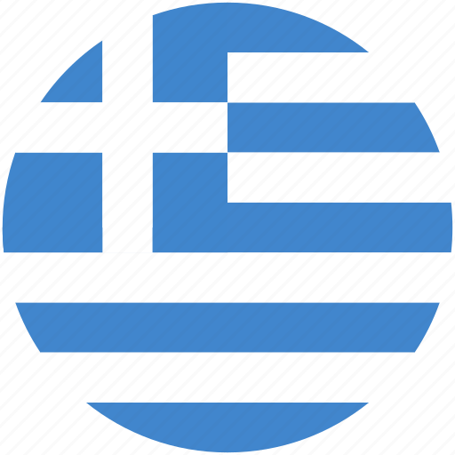 circle, flag, greece icon