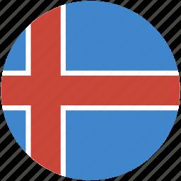 circle, flag, iceland icon