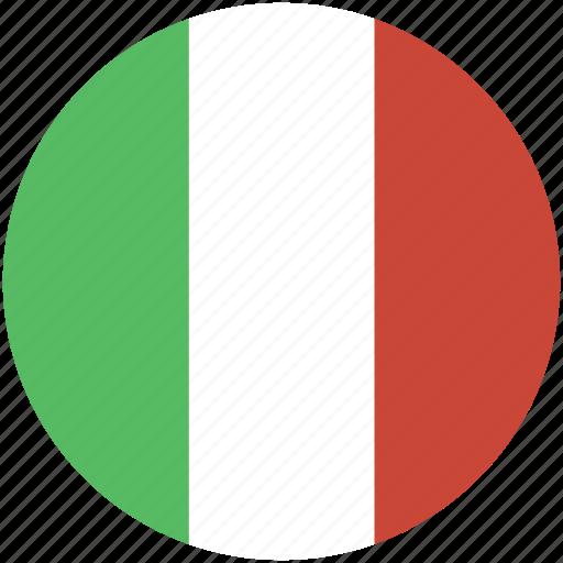 circle, flag, italy icon