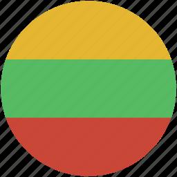 circle, flag, lithuania icon