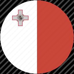 circle, flag, malta icon