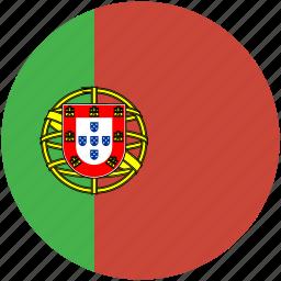 circle, flag, portugal icon
