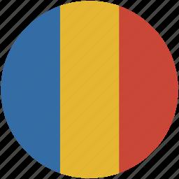 circle, flag, romania icon