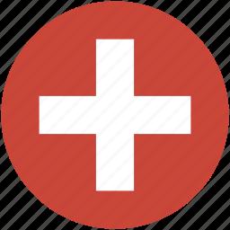 circle, flag, switzeland icon