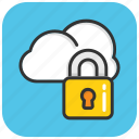 cloud computing, cloud lock, cloud protection, data privacy, internet security icon