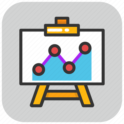 business analytics, chart, easel board, graph, presentation icon