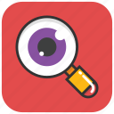 eye magnifying, eye view, observe, search, spy magnifier icon
