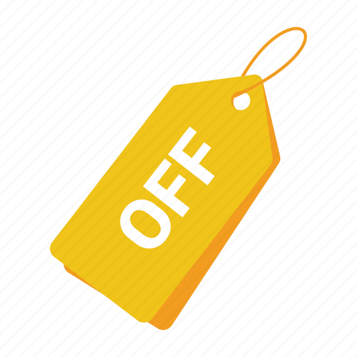 accounts, label, off tag, promotion, sale, tag, yellow tag icon