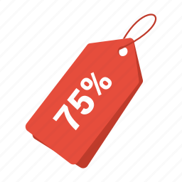 accounts, discount 75, label, promotion, sale, sale tag, tag icon