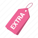 accounts, extra tag, label, pink tag, promotion, sale, tag icon