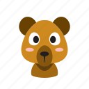 animal, bear, face, front, funny, head, wild icon