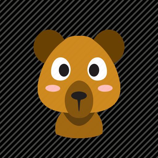 animal, bear, face, front, funny, head, wild icon