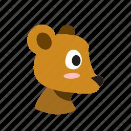 animal, bear, cartoon, character, face, side, wild icon