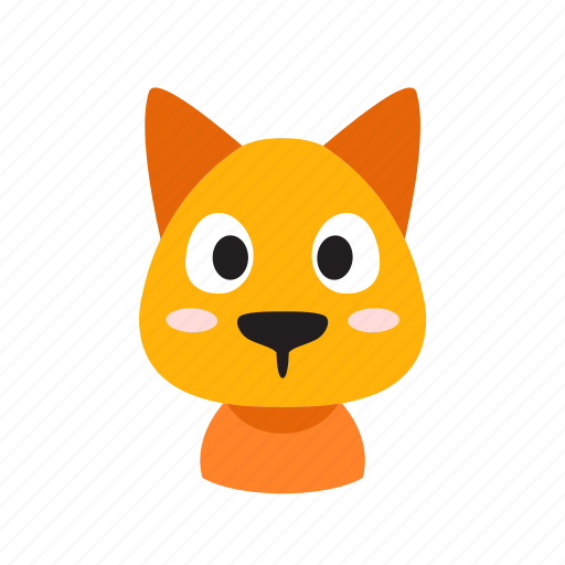 animal, cat, character, cheerful, face, front, pet icon