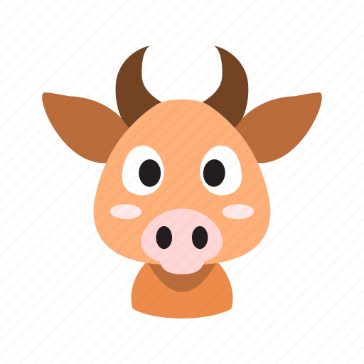 animal, cow, cute, front, head, horns, muzzle icon