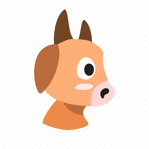 cartoon, character, cow, domestic, farm, muzzle, side icon