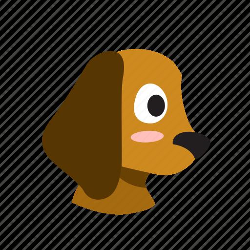 animal, cartoon, cute, dog, domestic, pet, side icon