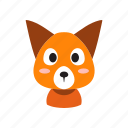 animal, cartoon, character, cute, fox, front, wild icon