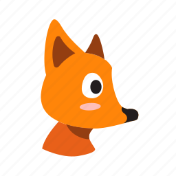 animal, character, face, fox, sharp nose, side, wild animal icon