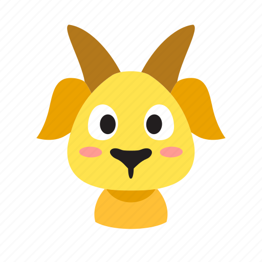 animal, cartoon, character, cute, domestic, front, goat icon