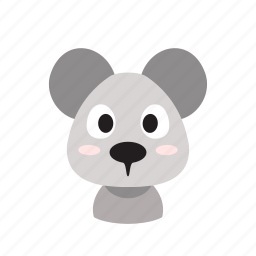 animal, cartoon, cute, domesctic, front, mouse, pet icon
