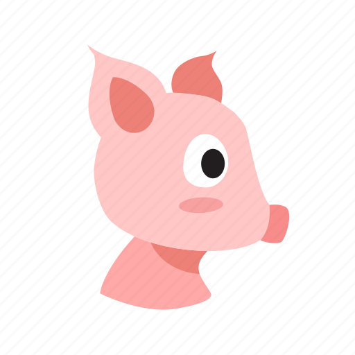 animal, domestic, face, farm, front, pig, snout icon