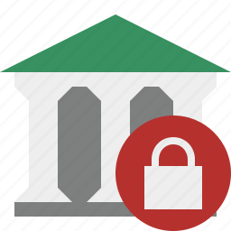 bank, banking, building, business, finance, lock, money icon