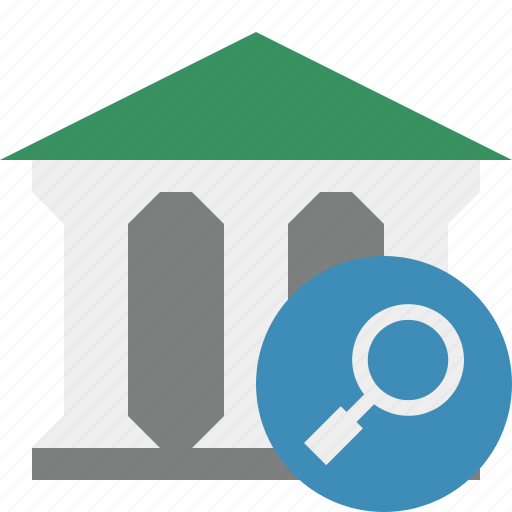bank, banking, building, business, finance, money, search icon
