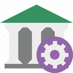bank, banking, building, business, finance, money, settings icon