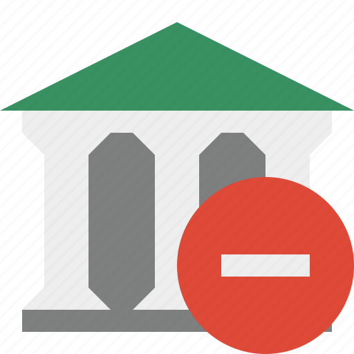 bank, banking, building, business, finance, money, stop icon