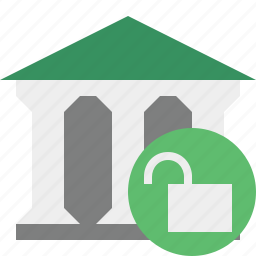 bank, banking, building, business, finance, money, unlock icon