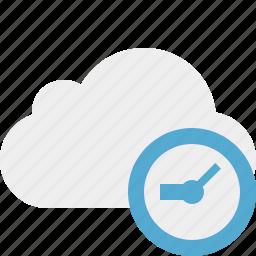clock, cloud, network, storage, weather icon