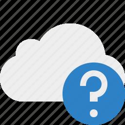 cloud, help, network, storage, weather icon