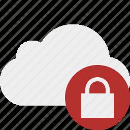 cloud, lock, network, storage, weather icon