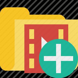 add, film, folder, media, movie, video icon