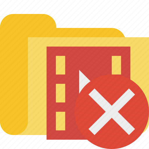 cancel, film, folder, media, movie, video icon