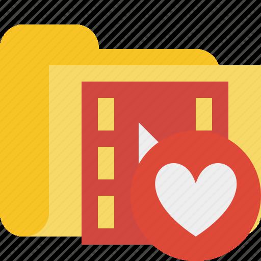 favorites, film, folder, media, movie, video icon