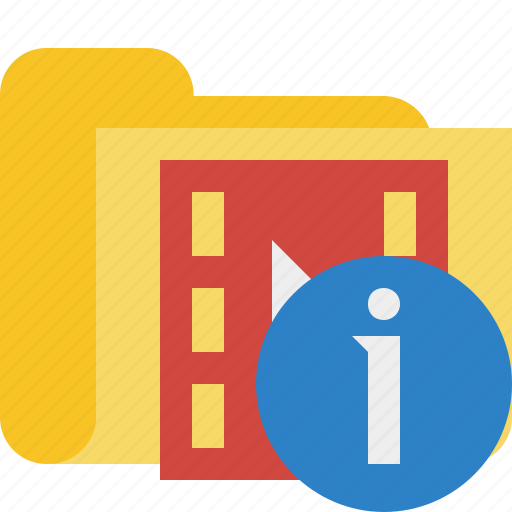 film, folder, information, media, movie, video icon