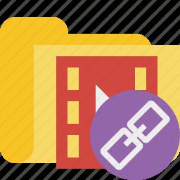 film, folder, link, media, movie, video icon