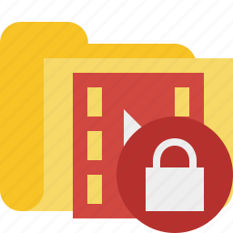 film, folder, lock, media, movie, video icon