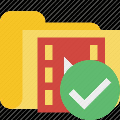 film, folder, media, movie, ok, video icon